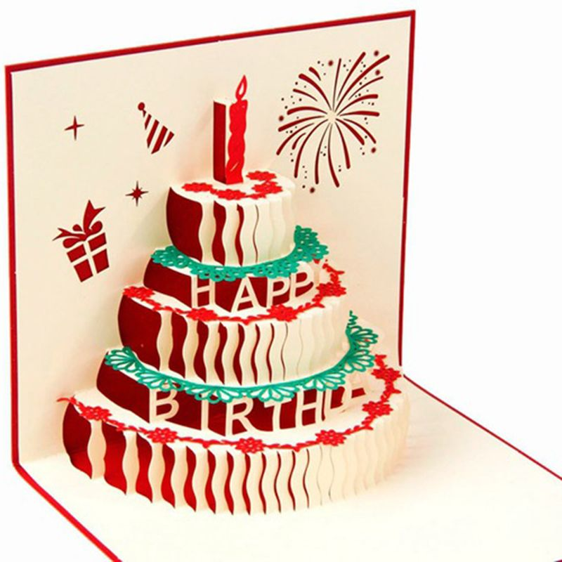 3D Greeting Card Handcrafted Origami Birthday Cake Candle Design Envelope Invitation Anniversary Wholesale