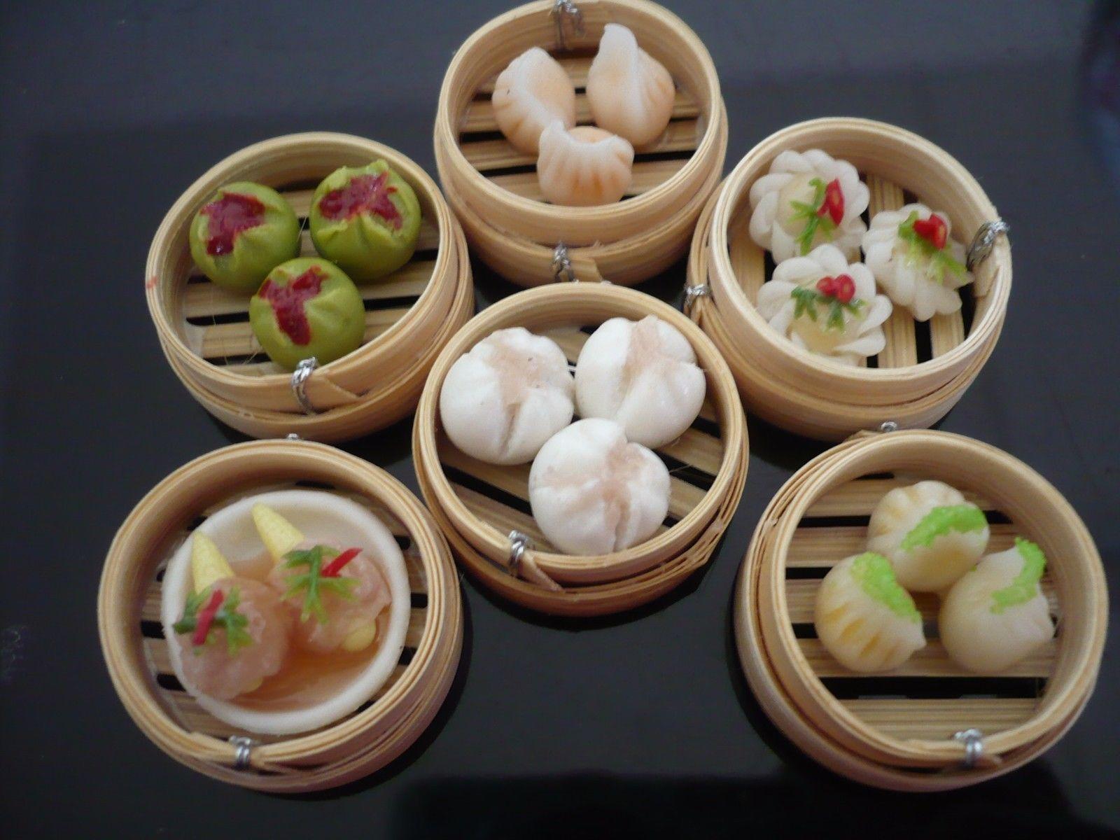 Set of 6 Dim Sum Chinese Cuisine Handmade Dollhouse Miniatures Food Deco 4