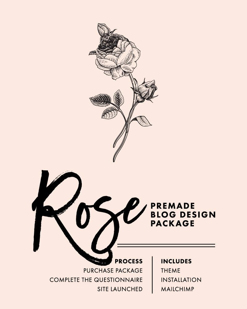 Rose Premade Blog Theme Package - Install Your WordPress Website