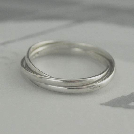10k Rolling Ring White Gold Russian Wedding Band Skinny Minnie Roller Interlocking Rings Thin Bands