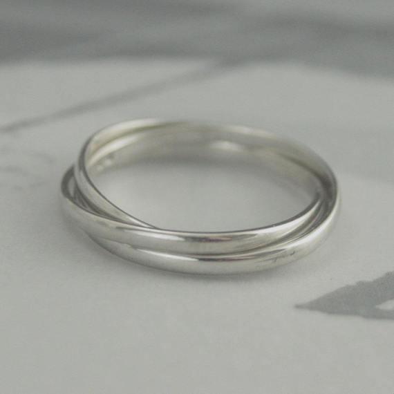 10K Rolling RingWhite Gold Rolling RingRussian Wedding BandSkinny