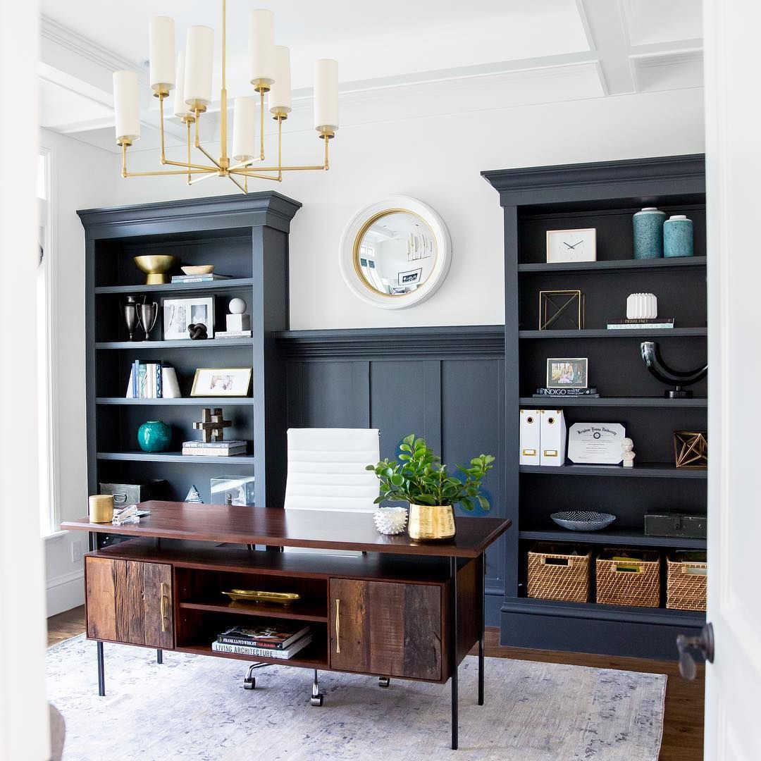 This cabinet color is called Cheating Heart by @benjaminmoore and is one of my top 5 favorite colors of all time! It's the perfect blue/black/gray and looks different (but equally magnificent) in all lights! || www.studio-mcgee.com