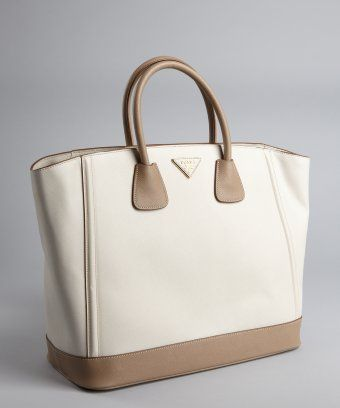 e4f57ce5d562 style  326514901 off white and tobacco saffiano leather large tote ...