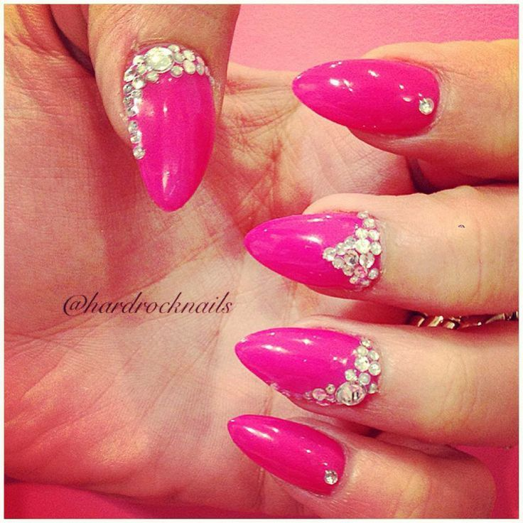 Hot Pink Almond Nails hot pink almond nails