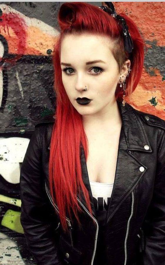 Red Sidecut Goth Queens Rockabilly Hair Hair Styles