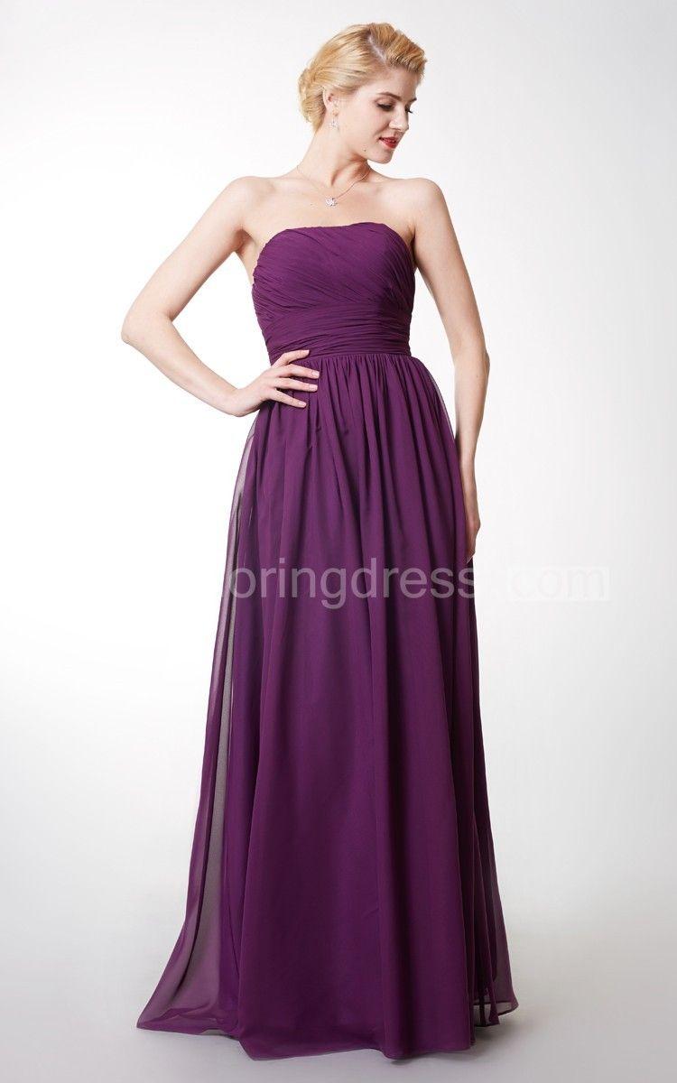 Strapless ruched empire long bridesmaid dress long bridesmaid