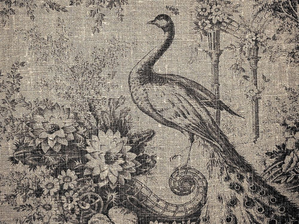 Curtain Fabric Designer French Linen Peacock Birds Floral Black By The Metre