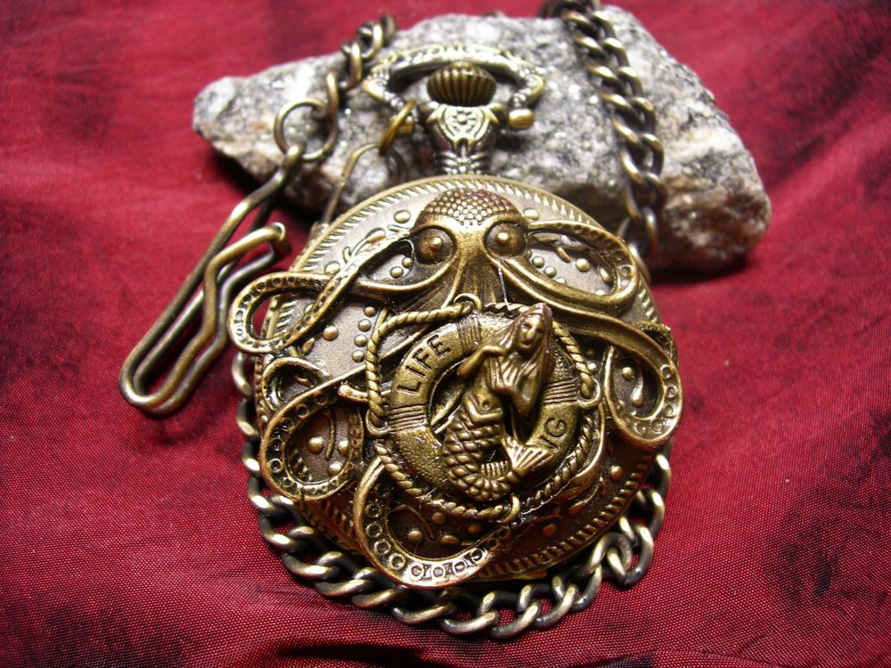 Steampunk Nautical Kraken w/ Life Buoy & Mermaid Pocket Watch in Gift Box