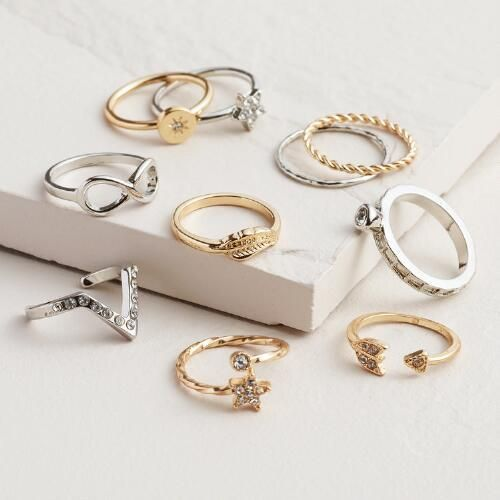 Usually size Gold and Silver Infinity Midi Rings, Set of 10