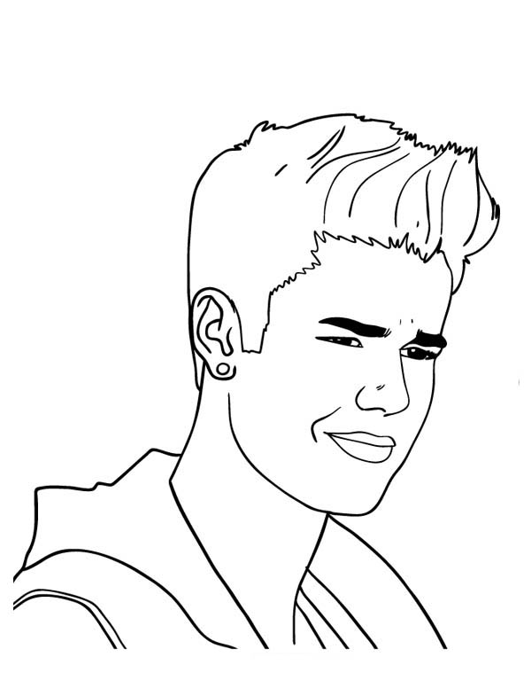 Justin Bieber With Cool Earing Coloring Page Netart Coloring Pages Justin Bieber Sketch Justin Bieber