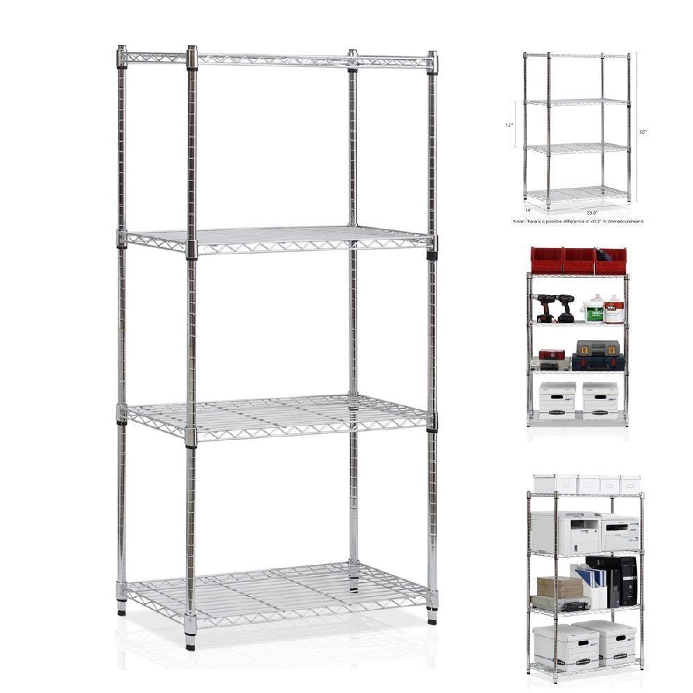 4 tier chrome steel wire shelf rack shelving system heavy duty ...