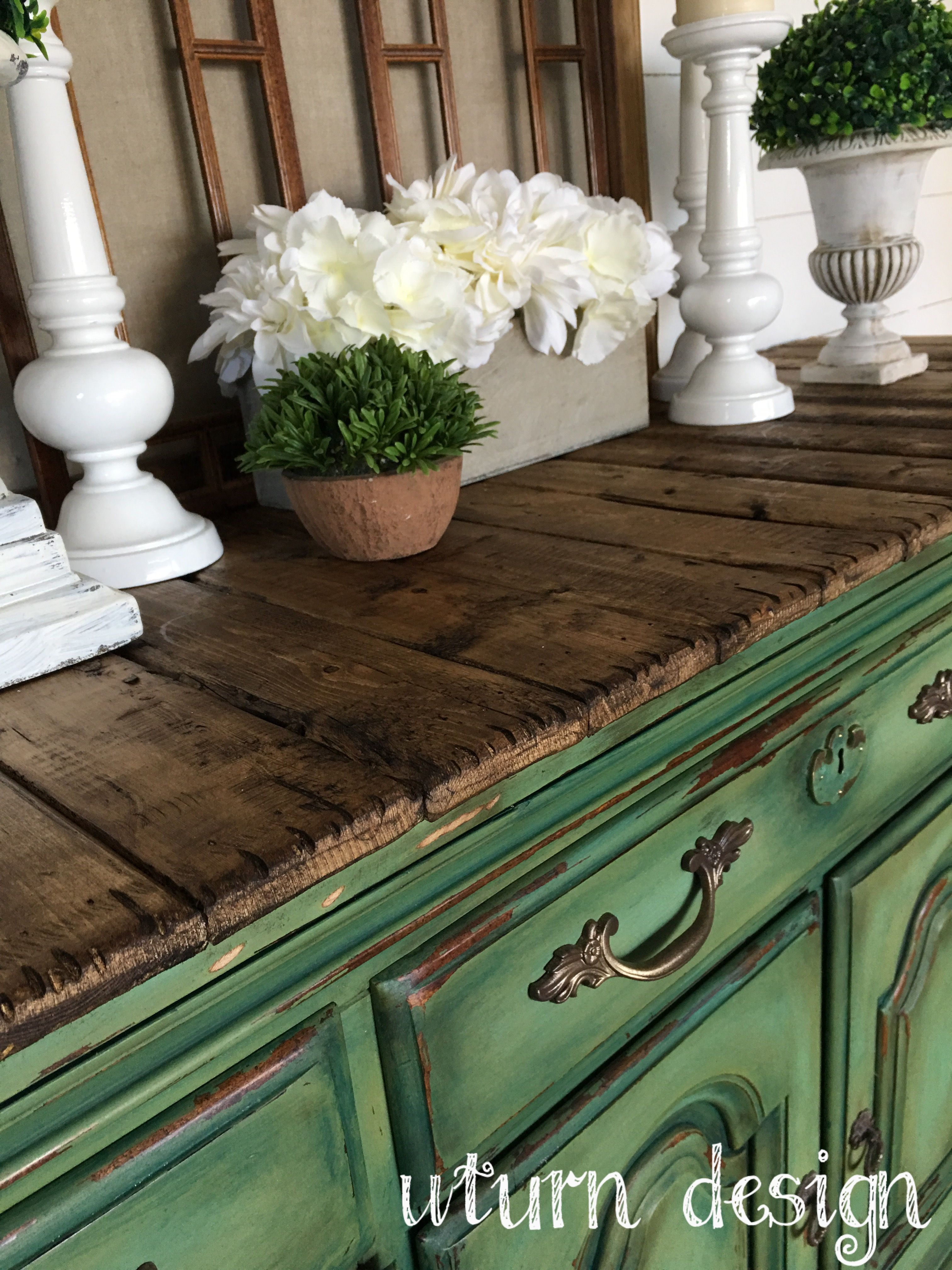 Painted Furniture Green buffet Sideboard with planked top By uturn