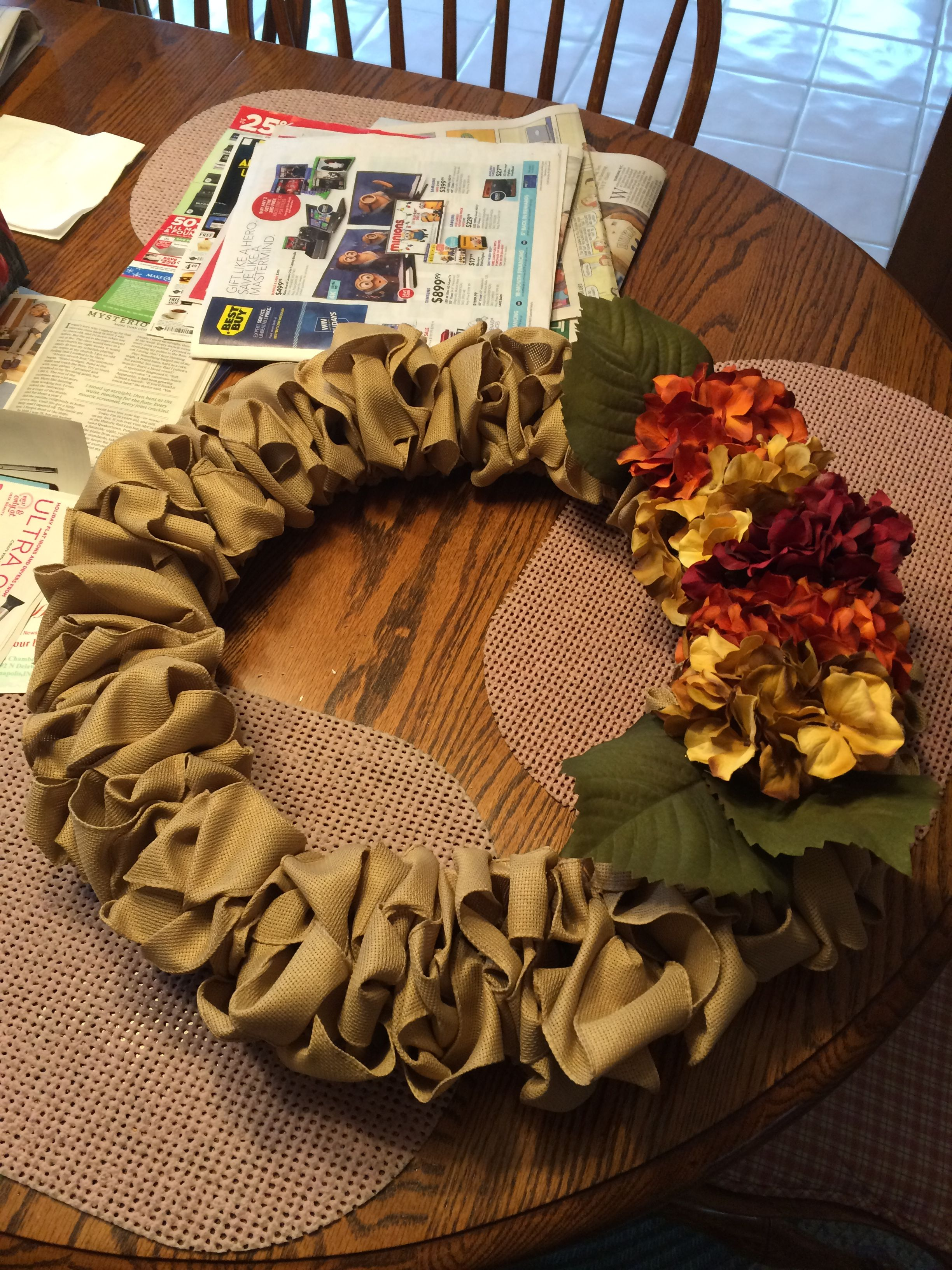 DIY burlap wreath for fall. All items purchased from