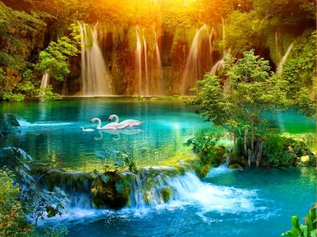 Paradise waterfall waterfalls wallpaper id 1583179 desktop nexus nature belles images - Paradise pictures backgrounds ...