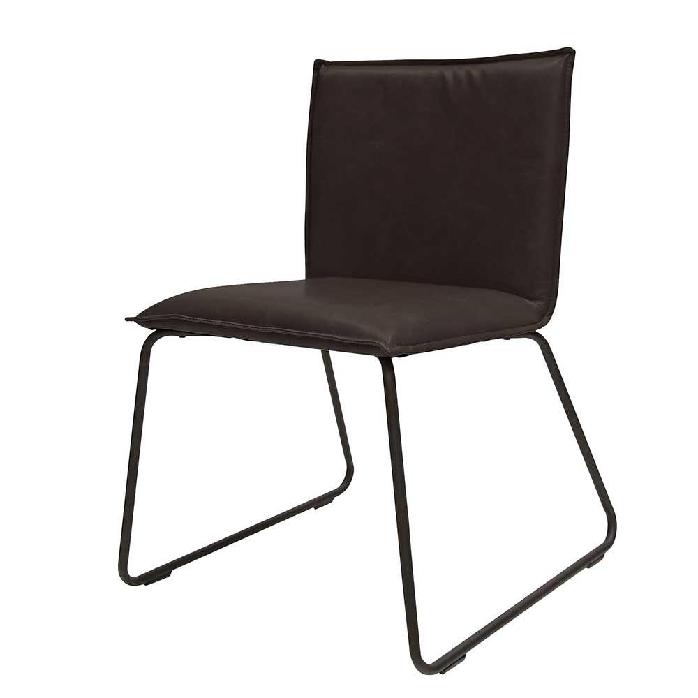 Lounge Stuhl in Schwarz Kunstleder Stahl (2er Set) Jetzt bestellen ...