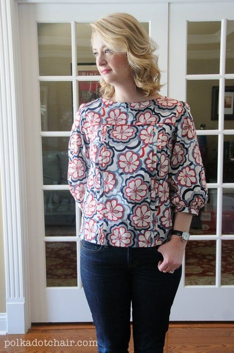 Mathilde Blouse Sewing Pattern, the Polka Dot Chair