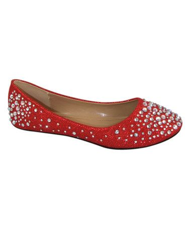 Look what I found on #zulily! Red Embellished Larisa Flat #zulilyfinds