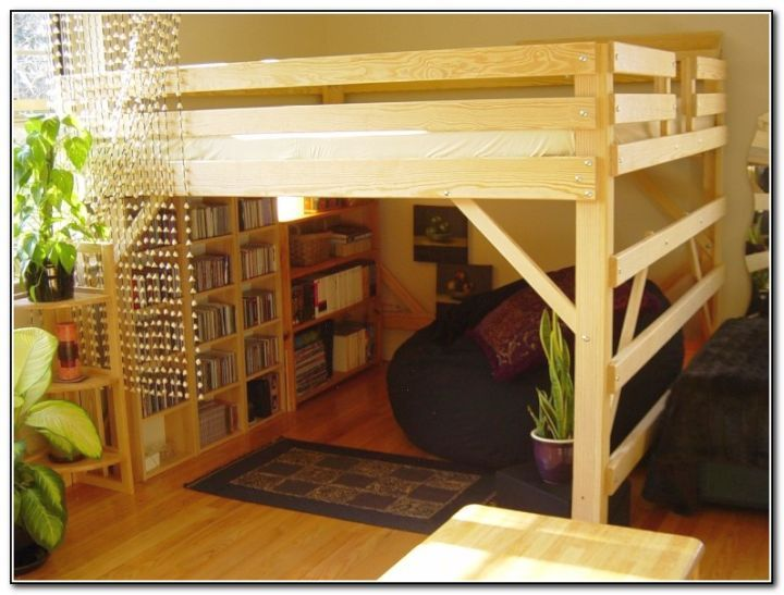 Rustic adult loft bed with stairs with bookshelf at the for How to make a loft room