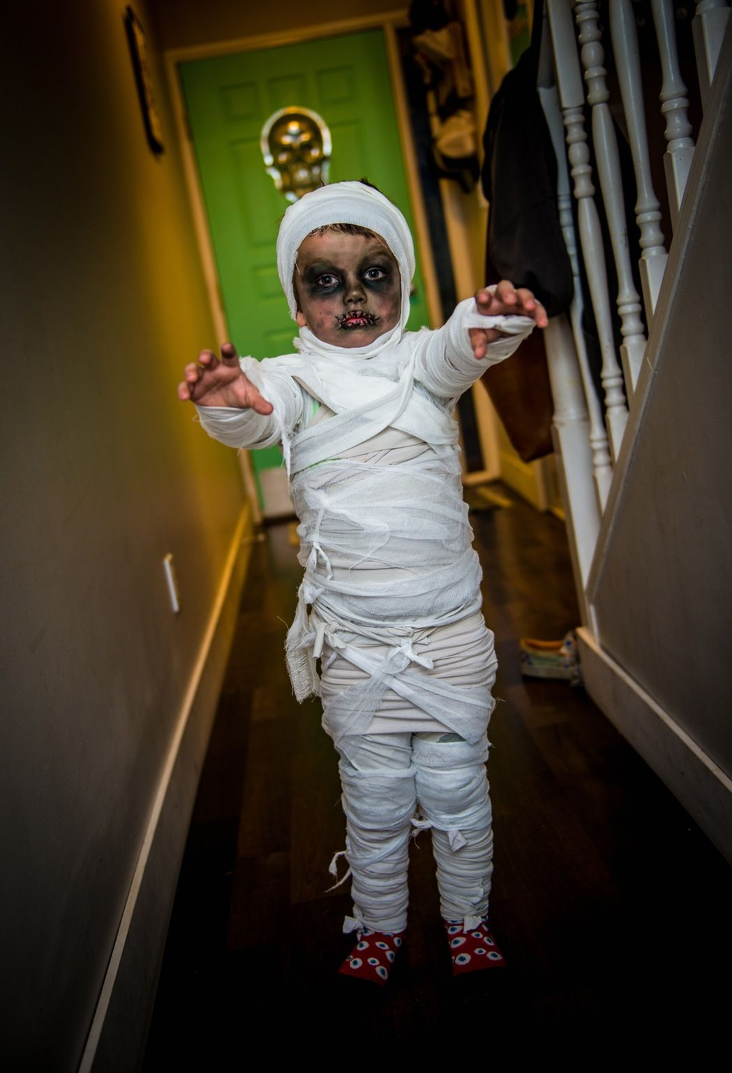3 Year Old Mummy Halloween Costume And Makeup For Kids