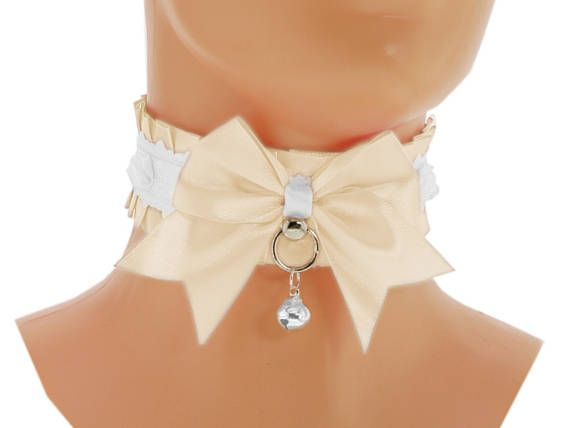 Ivory satin Kitten Collar, Kitten Play Collar, Pet Play Collar, Choker, neko girl Collar, BDSM, ddlg Collar, kawaii Princess, puppy 5Y2