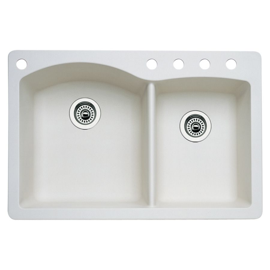 Lowe S Kitchen Sinks Granite Blanco Diamond Double Basin