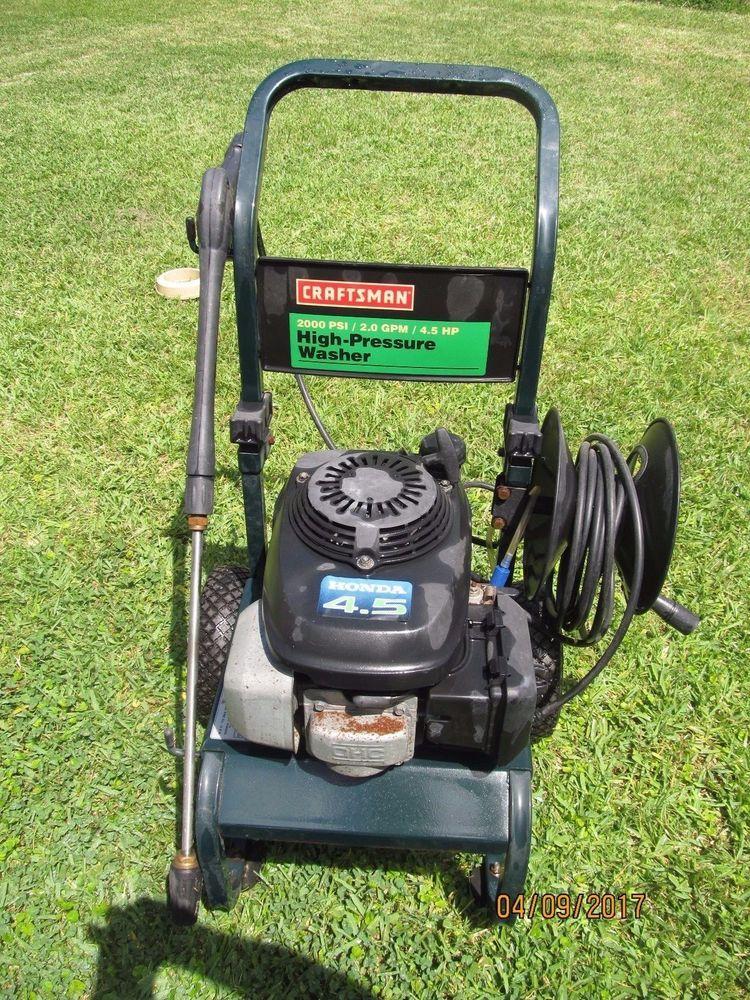 Craftsman 2000psi 2 0gpm 4 5hp High Pressure Washer Model 580 768321 Craftsman Pressure Washer High Pressure Washer