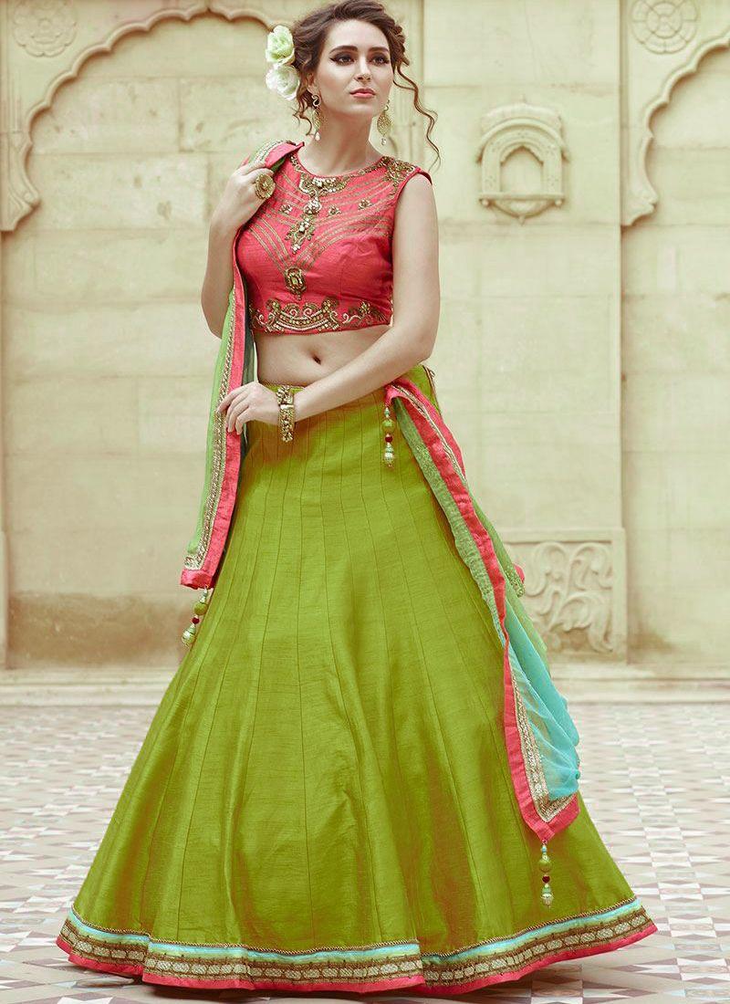 9509ea27f7 Orange & Parrot Green Fancy Bangalori Silk Lehenga Choli #LehengaCholi