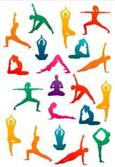 detailed colorful vector silhouette yoga people