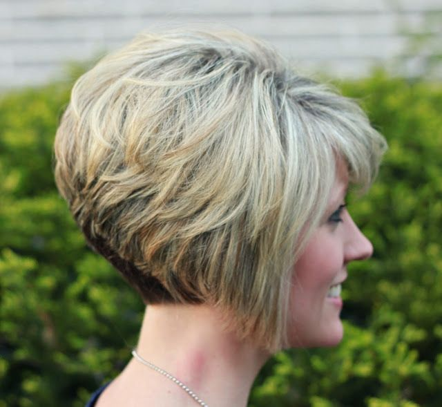 Angled Line From Back Of Head To Chin Inverted Bob Haircuts Short Stacked Bob Haircuts Stacked Hairstyles Short Hair Styles