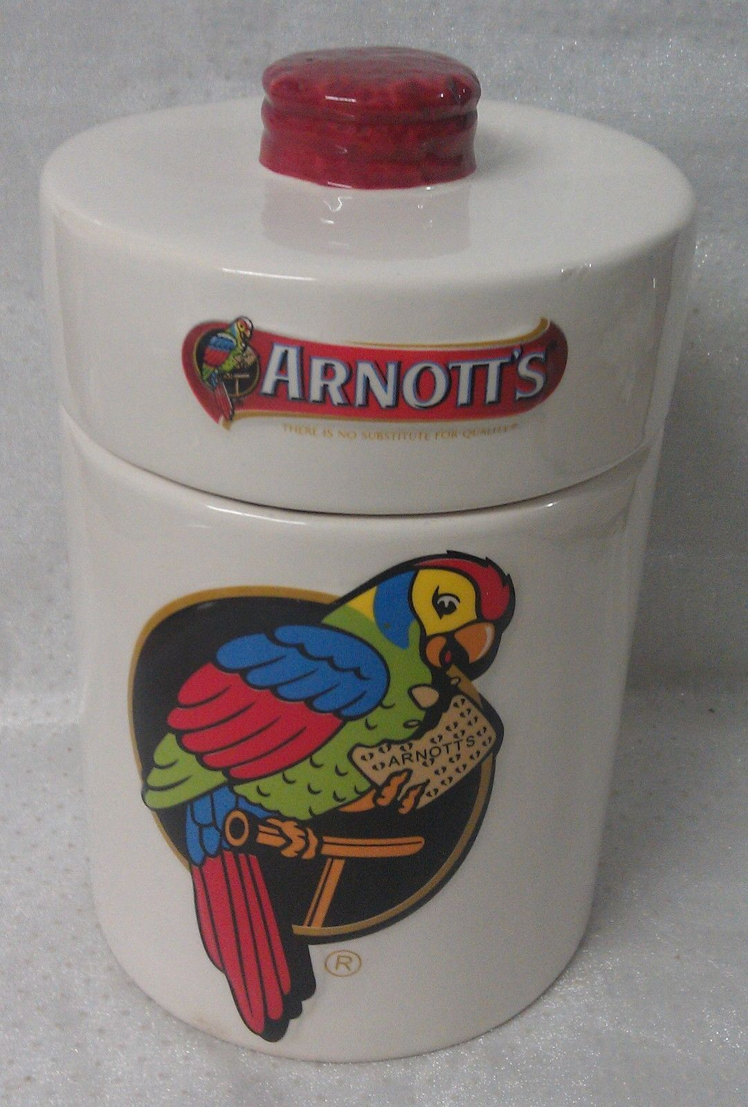 Arnotts Ceramic Biscuit Barrel with Lid -- Iconic Eastern Rosella Parrot