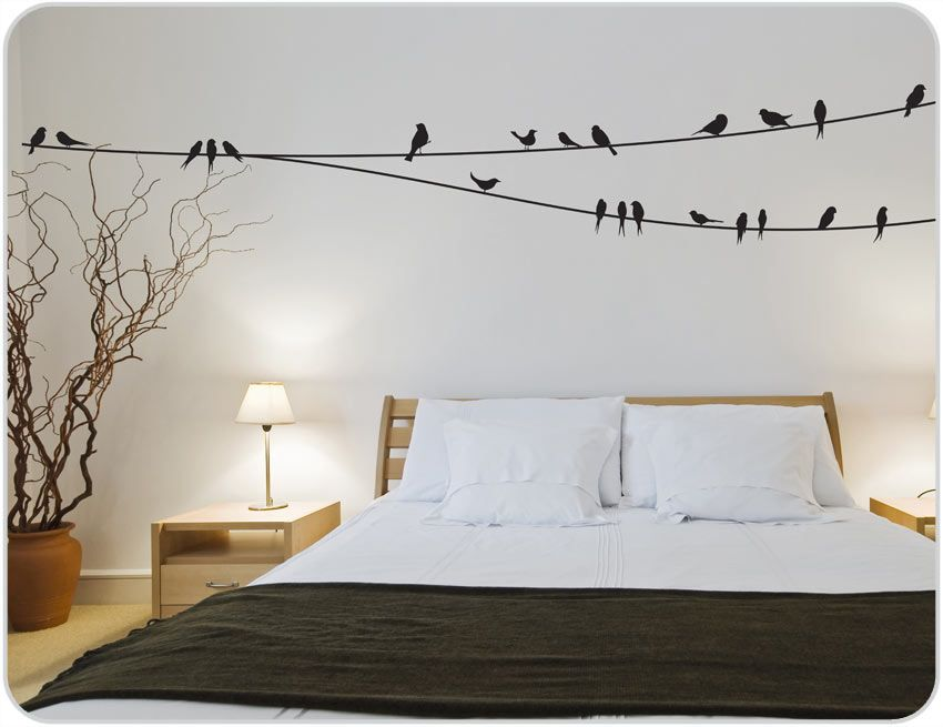 Wall Sticker Ideas Part - 15: Birds On Wire Wall Decals Bird Wall Decals