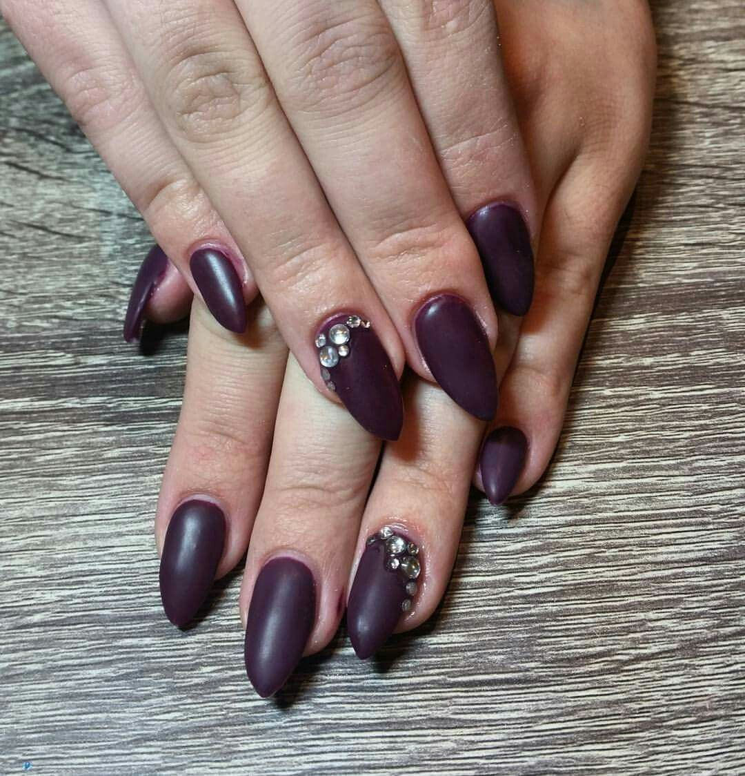 Matte purple almond nails with gemstone accents. Matte nails with ...