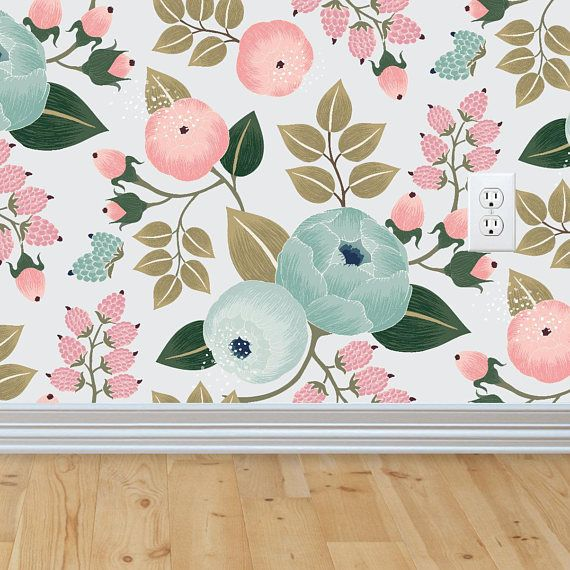 Blossom Wallpaper, Removable Wallpaper, Baby Girl Nursery