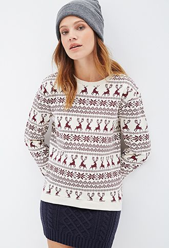 A doe-eyed beauty with this Fair Isle Deer Print Pullover at ...