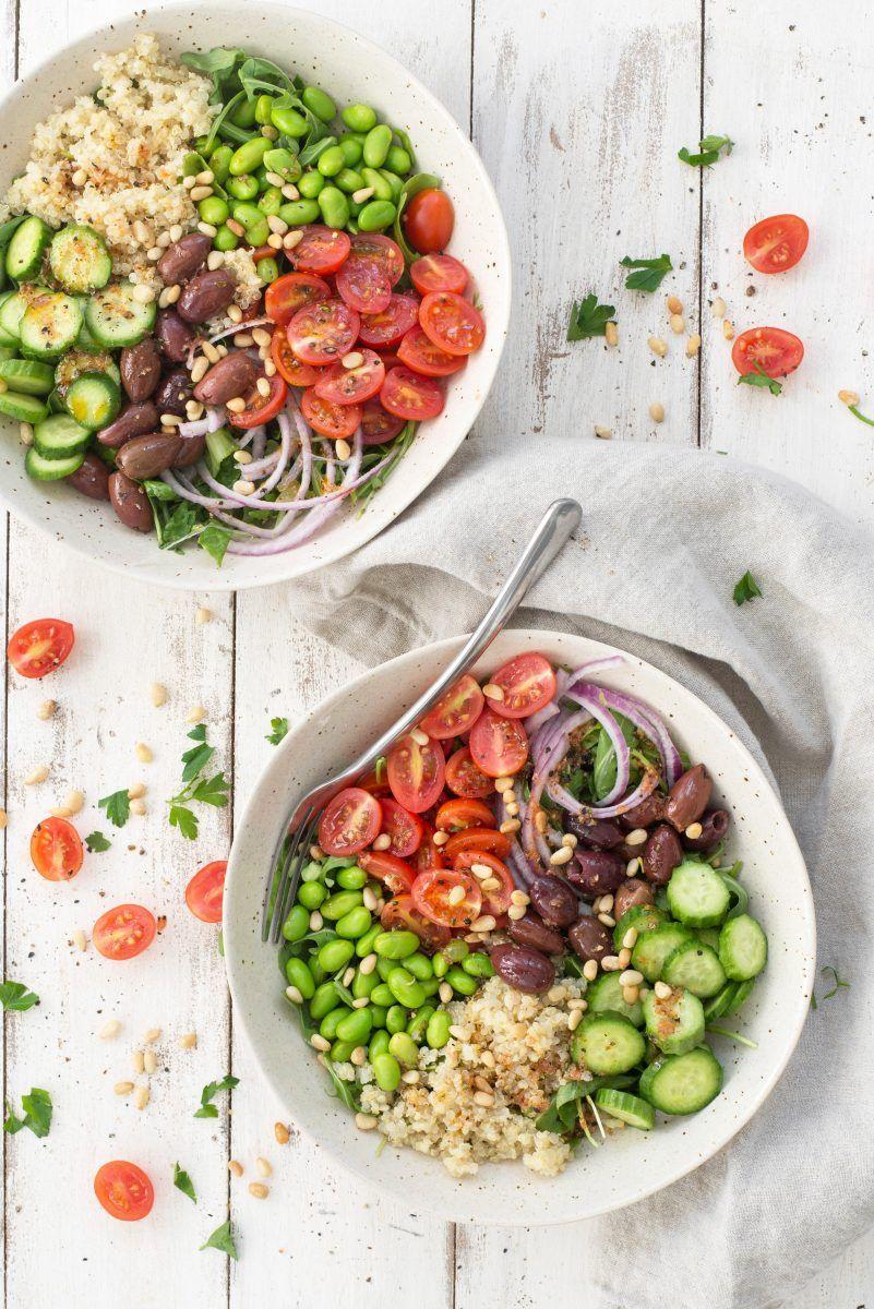 Mediterranean Edamame Quinoa Bowl Vegan Gluten Free