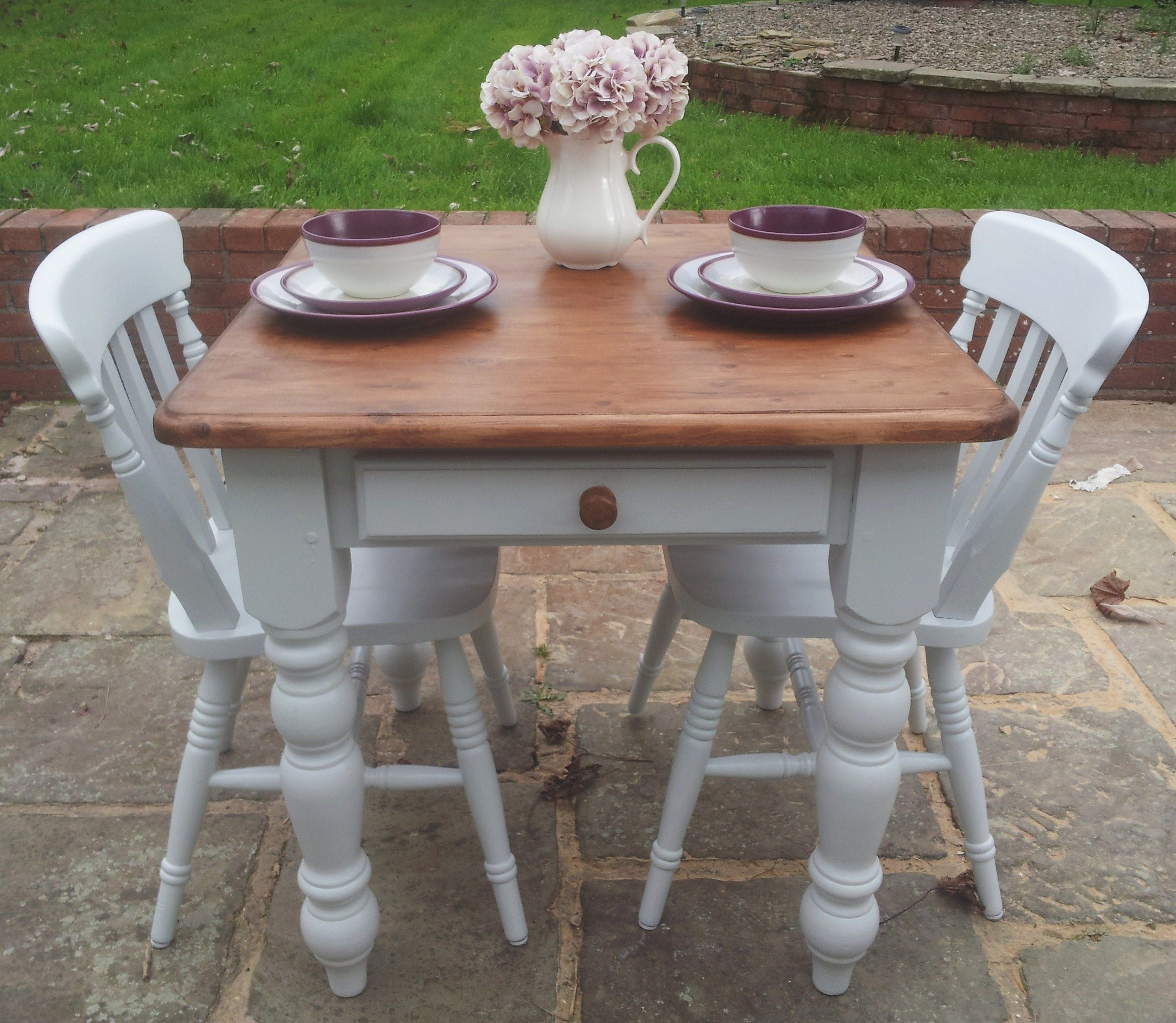 Best Painted Farmhouse Pine Table And 2 Chairs Farrow And Ball 640 x 480