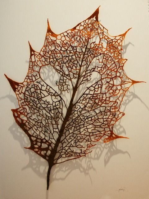 Meredith woolnough embroidered holly leaf skeleton
