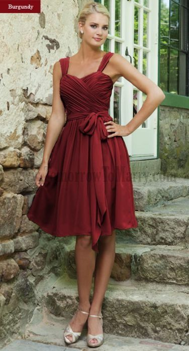 Affordable Bridesmaid Dress Sleeveless Chiffon Knee Length Bow Sashes Or Ribbons Straps Sweetheart Online Wedding Party Dresses