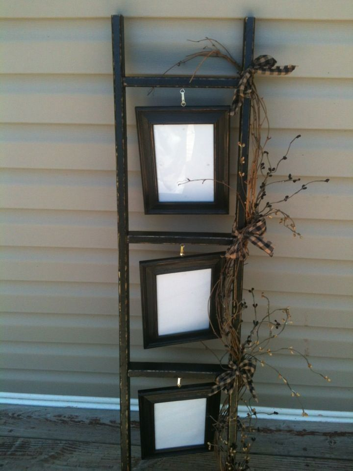Ladder with pictures frames primitive crafts home for Decor ladder house