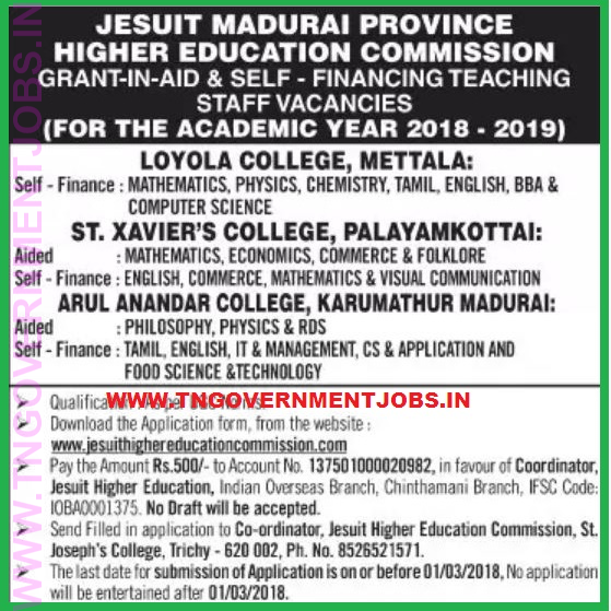 St Xavier S College Palayamkottai Govt Aided College Assistant