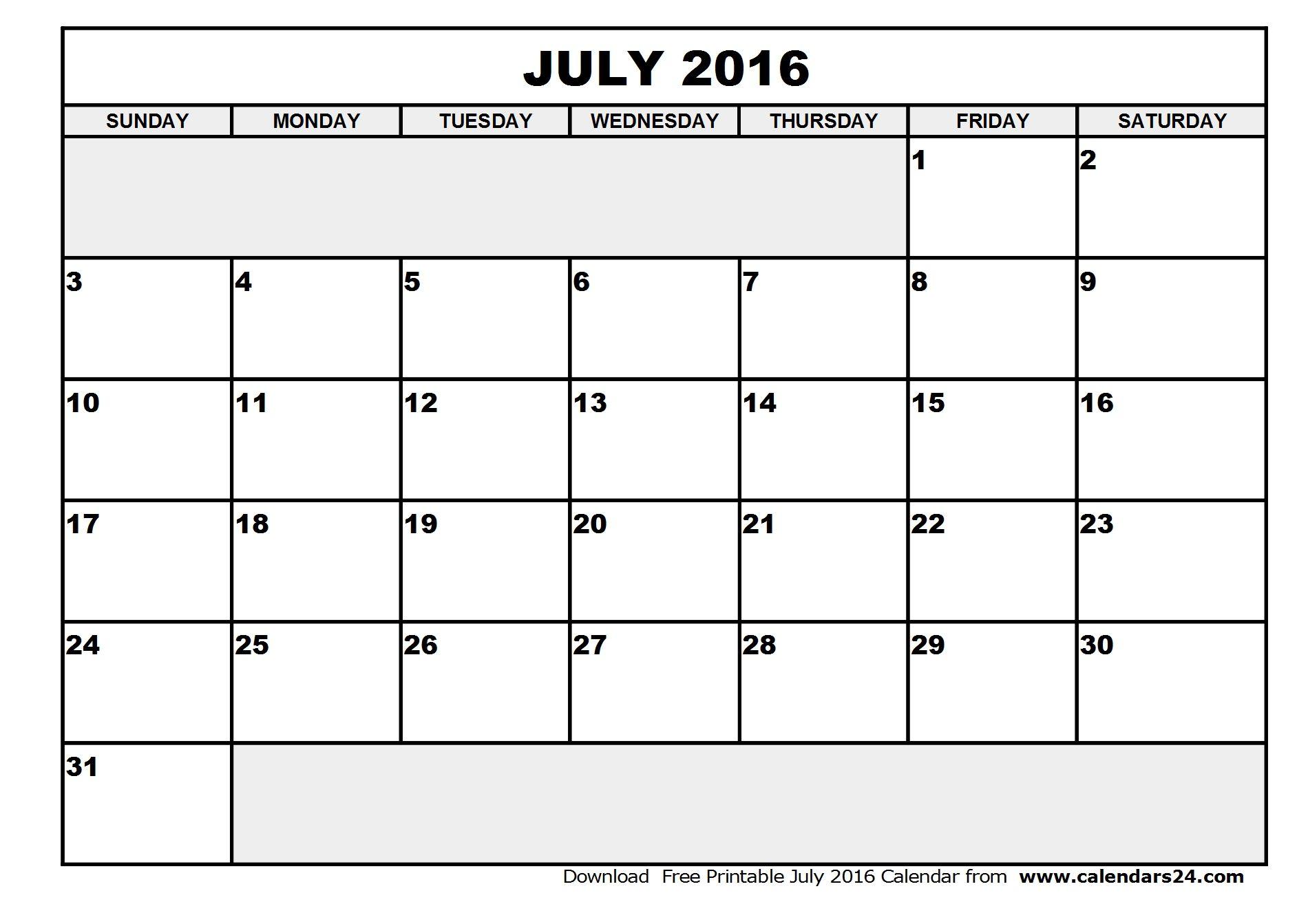 July August 2016 Calendar July Calendar Free Printable Calendar