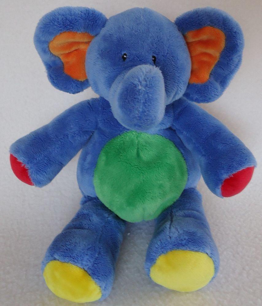 Baby Gund Tutti Frutti Blue Elephant 58319 Embroidered Eyes Plush Stuffed Toy Blue Elephants Baby Plush Toys Foster Baby