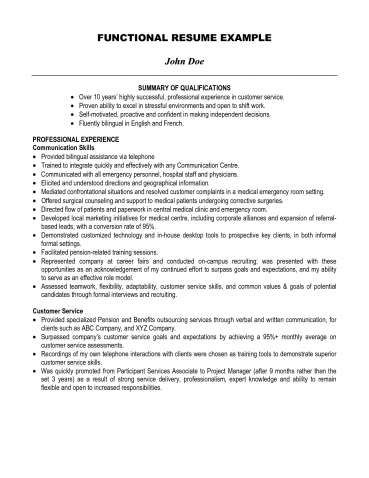 Summary For Resume Examples Resumes Qualifications Customer Service - Example Of A Functional Resume