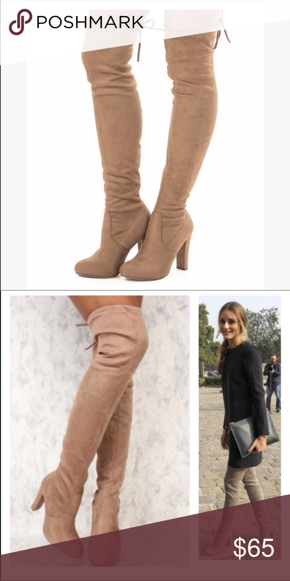 Taupe Slip On Over the Knee Boots