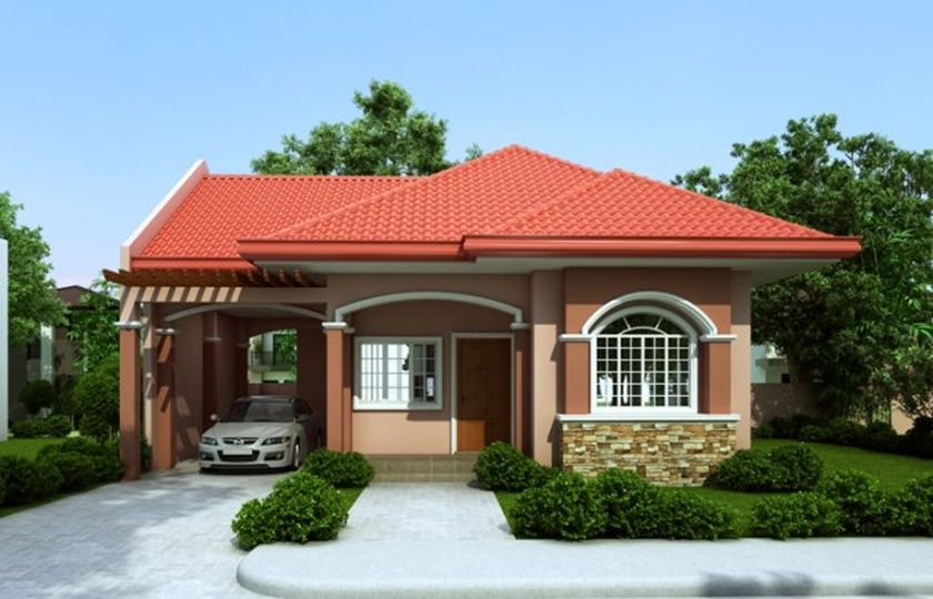 Single Story House Plan With A Floor Area Of 70 Square Meters Myhomemyzone Com One Storey House Bungalow House Plans House Design Pictures