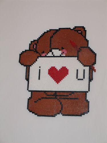 Hama Beads Forever Friends Bear Love, via Flickr.