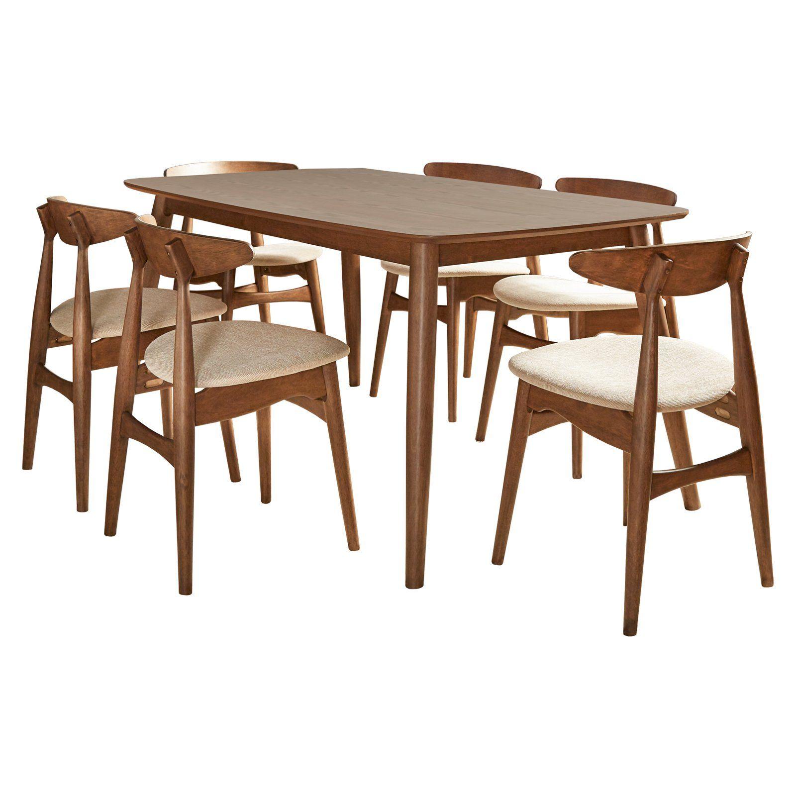 Chelsea Lane Mid Century Modern 7 Piece Dining Set Solid Wood