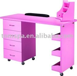 Wood nail table beauty pinterest wood nails woods for Folding nail technician table