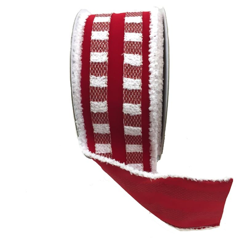 "Plaid Velvet Ribbon with Cotton Edge Size: 2.5"" width; 10 yards length Color: Red, White Material: Polypropylene 18%; Acrylic 34%; Polyester 36%; Wool 12% Wire edge Plaid ribbon with red backing."