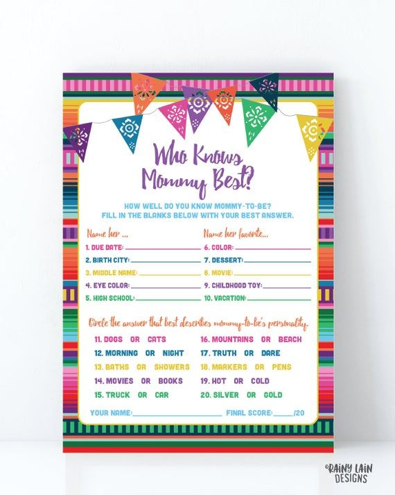 Who Knows Mommy Best Baby Shower Game, Fiesta Baby Shower Game, Printable, Fiesta Baby Shower Games, Baby Fiesta Game, Fiesta Baby Shower